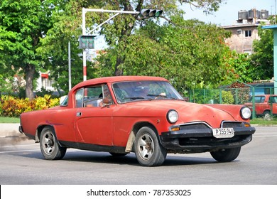 Havana, Cuba - June 6, 2017: Old motor car Studebaker Commander in the city street.