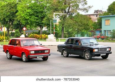 Havana, Cuba - June 6, 2017: Motor cars Lada 2105 and Lada 2107 in the city street.