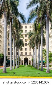 Havana / Cuba - June 7 2014:  The famous Nacional De Cuba Hotel in Havana which overlooks the Malecon ocean highway. Over the year's numerous world leaders & Royalty have visited.