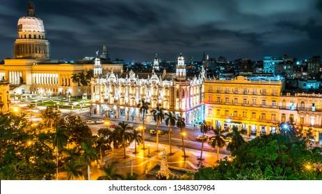 Havana, Cuba. Long Exposure Night. Downtown skyline and Capitol.