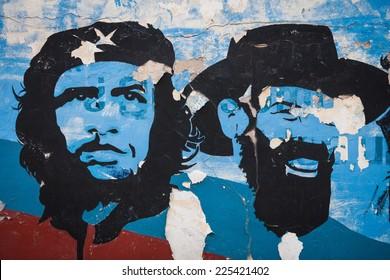 HAVANA, CUBA - MAR 14: Graffiti and wall paintings representing the Cuban national heroes, in Havana, on March 14, 2011.
