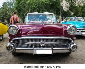 Havana, Cuba - mar 2017 : 1950s American car perfectly restored and repainted in the streets of Havana