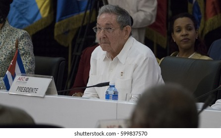 Havana, Cuba. March 10th 2017 - Cuban President Raul Castro at the Opening of the 22nd Meeting of the Association of Caribbean States Ministerial Council