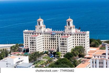 Havana, Cuba. March 10th 2017 - Aerial View of Hotel Nacional de Cuba
