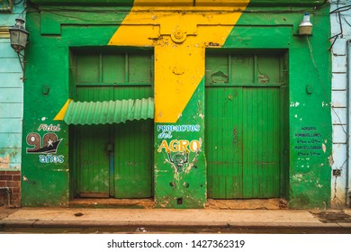Havana, Cuba - March 13 2019: Colourful building in La Habana, Havana, Cuba, West Indies, Caribbean, Central America