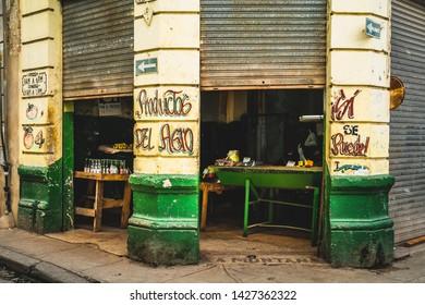 Havana, Cuba - March 13 2019: A local store in La Habana, Havana, Cuba, West Indies, Caribbean, Central America
