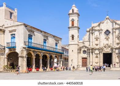 HAVANA, CUBA - MARCH 16, 2016: The Cathedral in the Old Havana neighborhood, Cuba