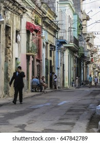 Havana, Cuba - March 19, 2017: we were in the poor Havana suburbs where all the building are decadent and very dirty.