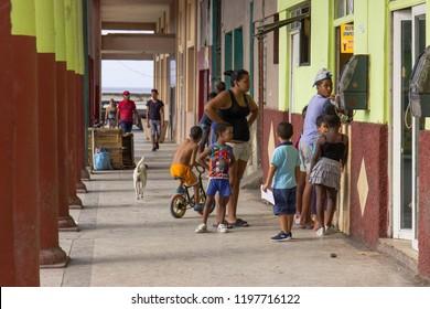 Havana, Cuba- March 2018. Cubans buying  beverages