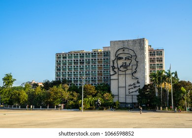 "Havana, Cuba. March, 2018 - Steel memorial of Che Guevara on Ministry of Interior, with the quotation ""Hasta la Victoria Siempre"" (Until the Everlasting Victory, Always), Plaza de la Revolucion"