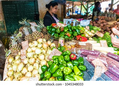 Havana, Cuba.  March 2018. A view of  a traditional market on calle Havana, in Havana, Cuba.
