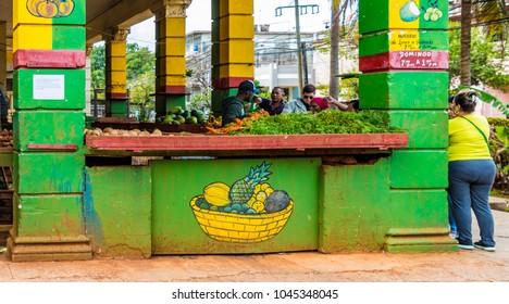 Havana, Cuba.  March 2018.A view of  a traditional market scene in Vedado, Havana, Cuba.