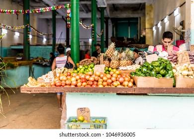 Havana, Cuba.  March 2018.A view of  a traditional market scene, in Vedado, in Havana, Cuba.