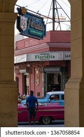 HAVANA, CUBA - MARCH 2019: El Floridita, an historic cocktail bar famous for its daiquiris and a favorite hang-out for Ernest Hemingway.