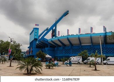 Havana, Cuba / March 22, 2016: Main baseball stadium in Havana,Cuba where President Obama and Fidel Castro attended an exhibition game between the Cuban National Team and the Tampa Bay Rays.