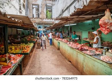 Havana, Cuba - March 24, 2017: Meat market in Havana's Old Town
