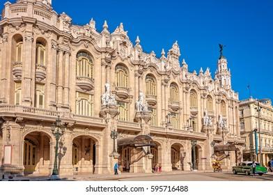 Havana, Cuba - March 6, 2016: Beautiful neo-baroque style architecture of Gran Teatro in Old Havana, Cuba.