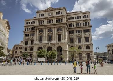 HAVANA, CUBA - May 04, 2019: The foreign trade building in San Francisco de Asis Square in Old Havana, Cuba