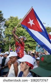Havana, Cuba - May 1; The parade of the first of May when is the day of all working people. People Marching in Havana, Cuba.
