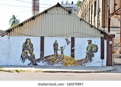 HAVANA, CUBA, MAY 11, 2009. Graffiti and wall paintings representing the Cuban national heroes, in Havana, on May 11th, 2009.