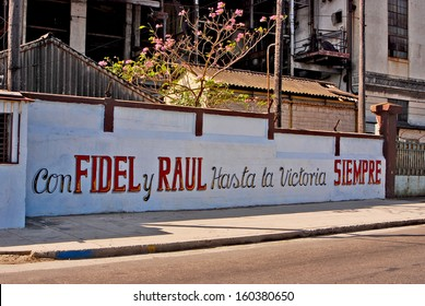 HAVANA, CUBA, MAY 11, 2009. Artistic wall writings about the communist revolution and Cuban national heroes, in Havana, on May 11th, 2009.