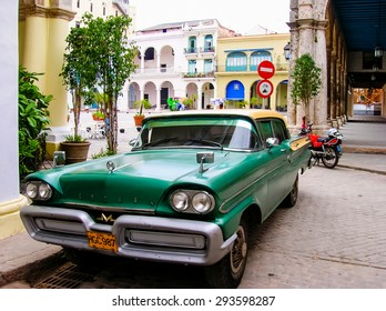 HAVANA, CUBA - MAY 13, 2007: Oldtimer car on the street of Havana, Cuba. It is estimated that there are some 173,000 cars in Cuba  and 60.000 of them are classic cars called Yank Tank.