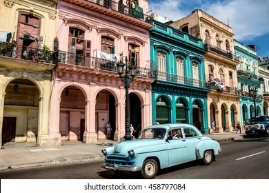 HAVANA, CUBA - MAY 15, 2016: View along Paseo de Marti in downtown Havana, Cuba. Classic car on a sunny summer day.