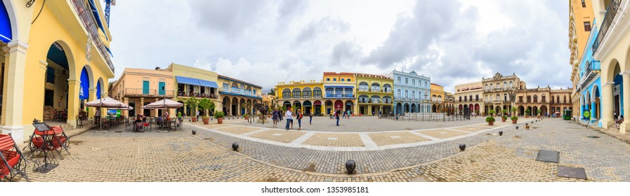 Havana, Cuba - May 16, 2018: Large panorama of Plaza Vieja in Havana Cuba