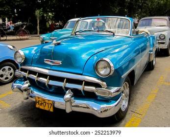 HAVANA, CUBA - MAY 19, 2012: Oldtimer car on the street of Havana, Cuba. It is estimated that there are some 173,000 cars in Cuba  and 60.000 of them are classic cars called Yank Tank.