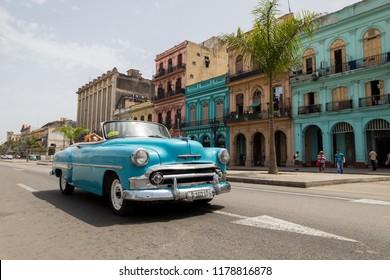 HAVANA, CUBA - MAY 27, 2017: A vintage classic blue car on the Havana streets, Cuba