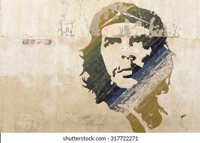 HAVANA, CUBA - MAY 28, 2014: Wall painting of Ernesto Che Guevara in Old Havana, Cuba.