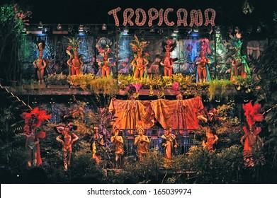 HAVANA, CUBA, MAY 7, 2009. Dozens of astonishing dancers performing in Tropicana in Havana, Cuba, on May 7, 2009.