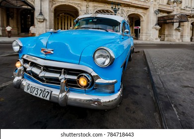 Havana, Cuba, Nov 21, 2017 - Blue classic 1950's Chevrolet is parked in front of Havana Opera House