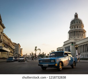Havana, Cuba - November 06, 2017: Classic cars drives on a main road in Havana Cuba City before the Capitolio
