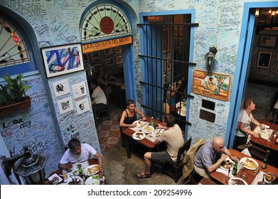 Havana, Cuba, - November. 1. 2010: La Bodeguita del Medio in Havana, Cuba, the birthplace of Mojito, a famous tourist attraction and has been a favorite for celebrities like Ernest Hemingway
