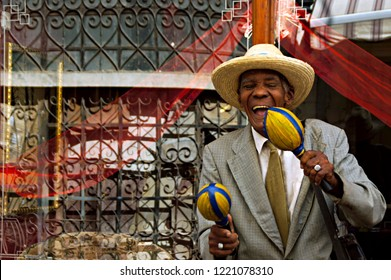 Havana, Cuba - November 26, 2011 : Portrait of happy cuban man in Havana, Cuba