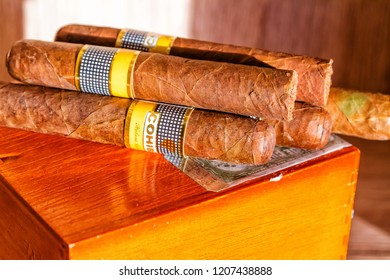 HAVANA, CUBA - NOVEMBER 28, 2017:  Cohiba Cigar. This Cuban brand is filled with tobacco that comes from the Vuelta Abajo region of Cuba which has undergone an extra fermentation process.
