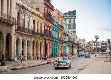Havana, Cuba - November 29, 2017: Street scene in Havana