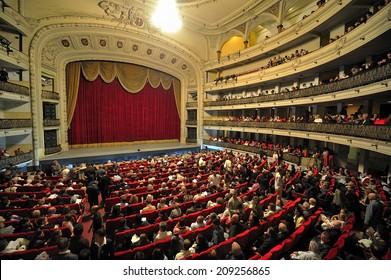 HAVANA, CUBA, - November. 5. 2010: interior of Gran Teatro de La Habana, Great Theatre of Havana, officially opened in 1838, It is a home of the Cuban National Ballet