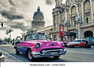 HAVANA, CUBA- OCT 24, 2016: old american car parked on the street