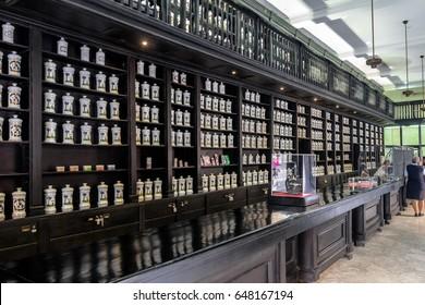 HAVANA, CUBA - Oct 8, 2016: Interior of old fashioned Pharmacy - Havana, Cuba