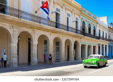 Havana, Cuba - October 03, 2018: American green 1953 Chevrolet Bel Air Sedan vintage car with a white roof on the street in the old town from Havana City Cuba - Serie Cuba Reportage