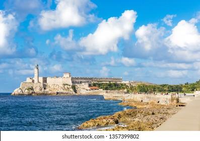 Havana, Cuba - October 03, 2018: The famous fortress el Morro del Reyes on the promenade el Malecon in Havana City - Serie Cuba Reportage