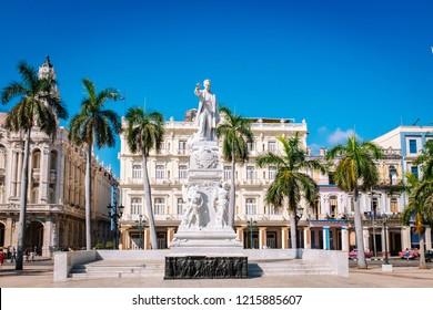 HAVANA, CUBA – OCTOBER 14, 2018: Marble statue of Jose Marti in the Parque Central in Old Havana, Cuba.
