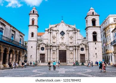 HAVANA, CUBA – OCTOBER 14, 2018: Baroque facade of the Catedral de San Cristobal (Havana Cathedral) in Old Havana, Cuba.