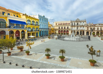 Havana, Cuba - October 18, 2019: The famous historical place Plaza vieja in the old town from Havana City Cuba