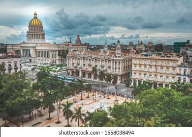Havana, Cuba - October 19, 2019: Dark sky over the Capitolio building old Havana