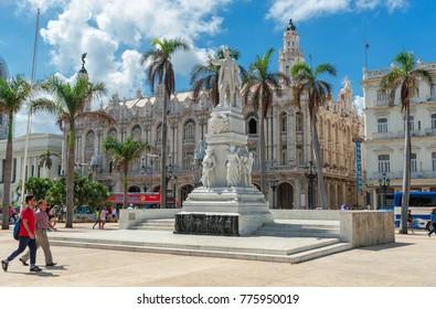 HAVANA, CUBA - OCTOBER 20, 2017: Cetral Park in Havana with Statue of Jose Marti and Jose Vivalta