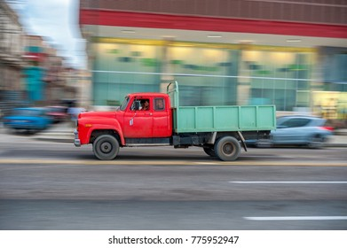 HAVANA, CUBA - OCTOBER 20, 2017: Havana Old Town and Malecon Area with Old Truck Vehicle. Cuba. Panning.