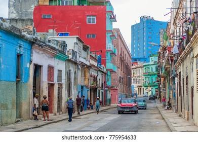 HAVANA, CUBA - OCTOBER 20, 2017: Havana Old Town Architecture. Colorful Buildings